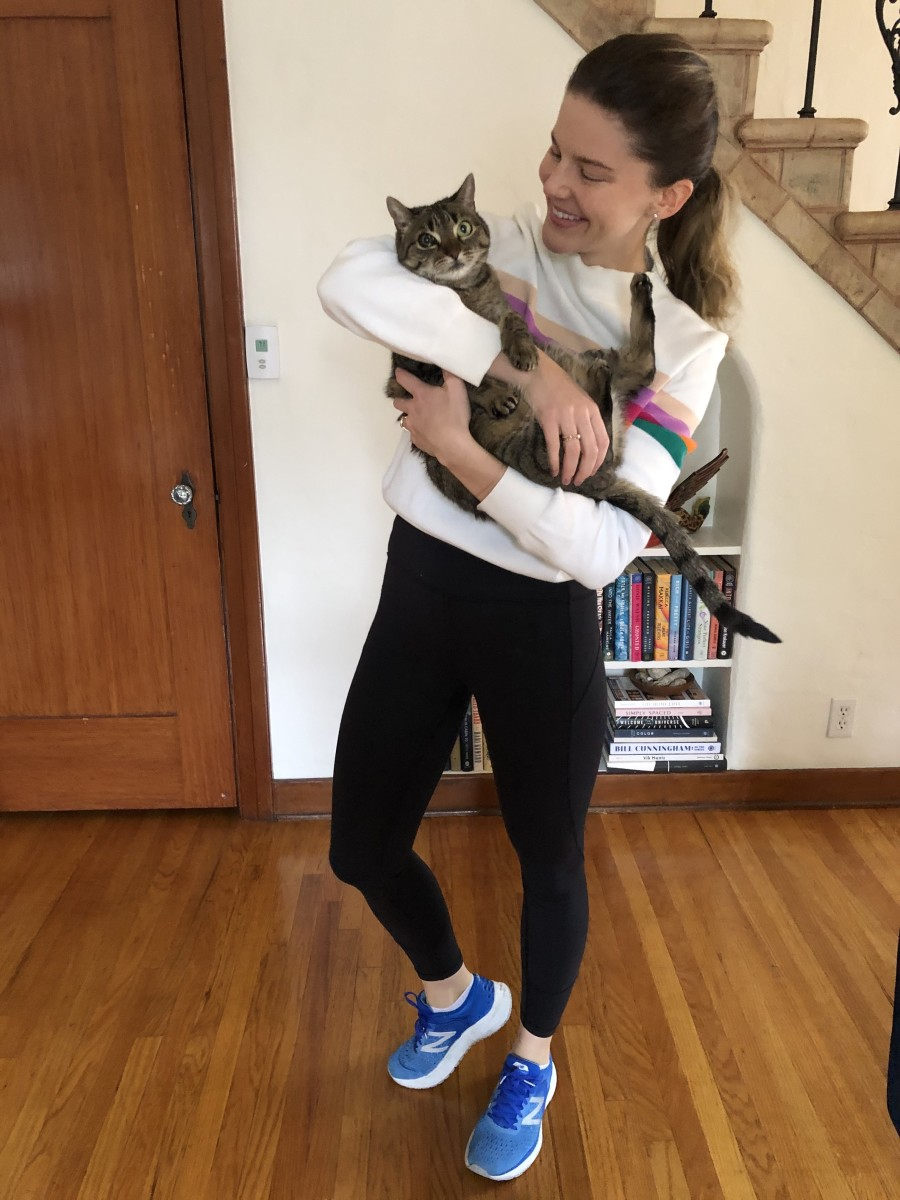 Thursday: & Other Stories Sweater (similar here), Lululemon Leggings, New Balance Sneakers (similar here). Meesh is au naturale 🐈