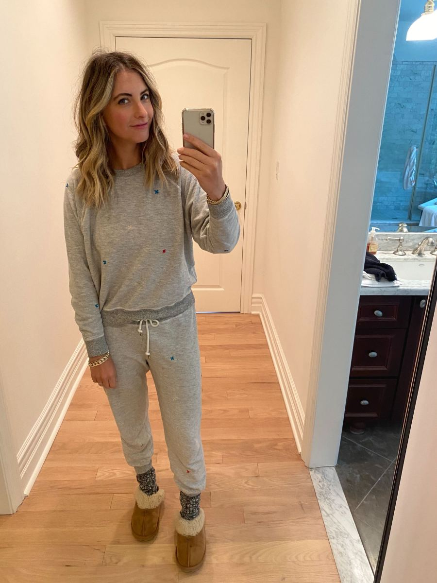 Friday: TheGreat Sweatsuit (similar top here and pants here, on sale!), Ugg Slippers