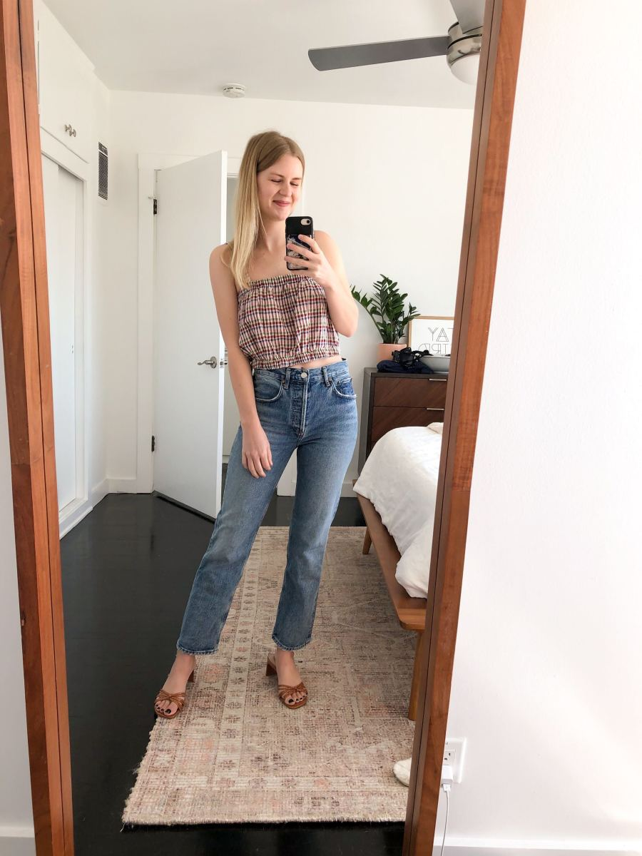 Wednesday (Kelly, Marketing Manager): Madewell Top, AGOLDE Jeans, Steven Shoes
