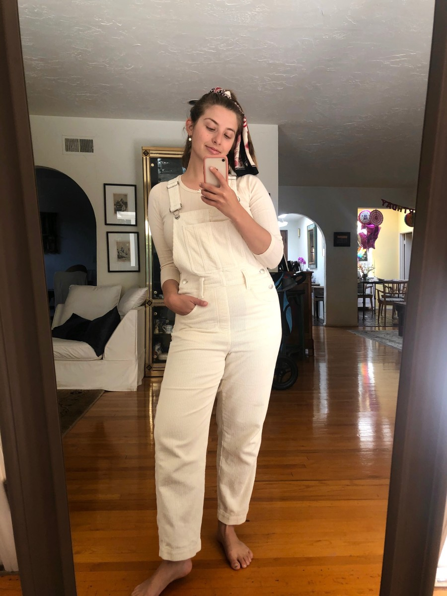 Tuesday (Natalie, Editorial Intern): Doen Top, Madewell Overalls (similar here), Vintage Scarf (similar here), Leighton Earrings
