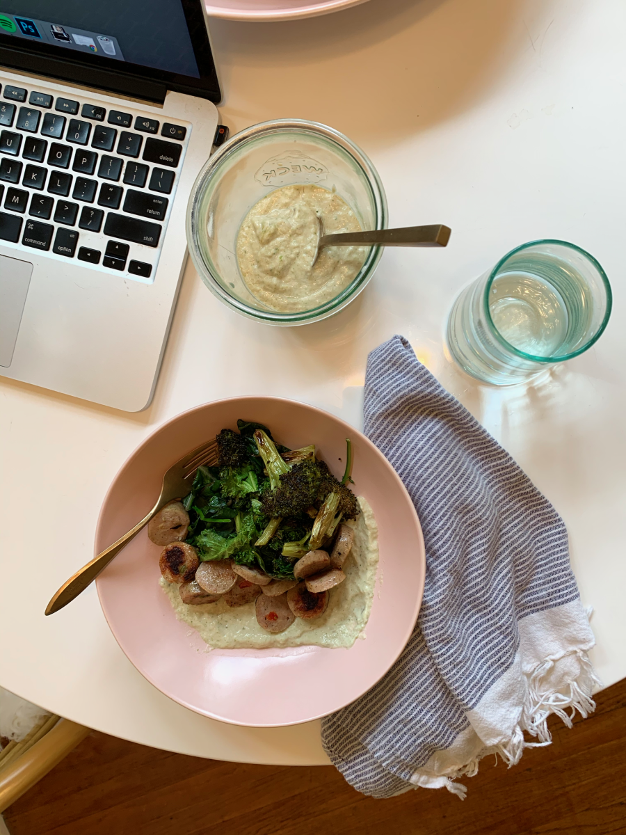Friday's lunch: Chard hummus, kale, chard leaves, and broccoli, and chicken sausage