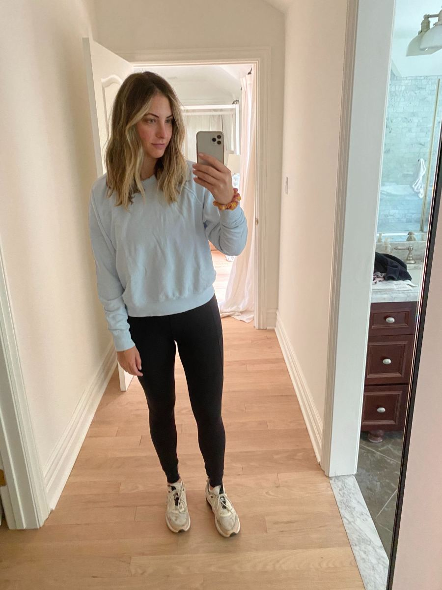 Friday (Emily, Founder): Daydreamer Sweatshirt(similar here), Varley Leggings, Nike Sneakers (similar here)
