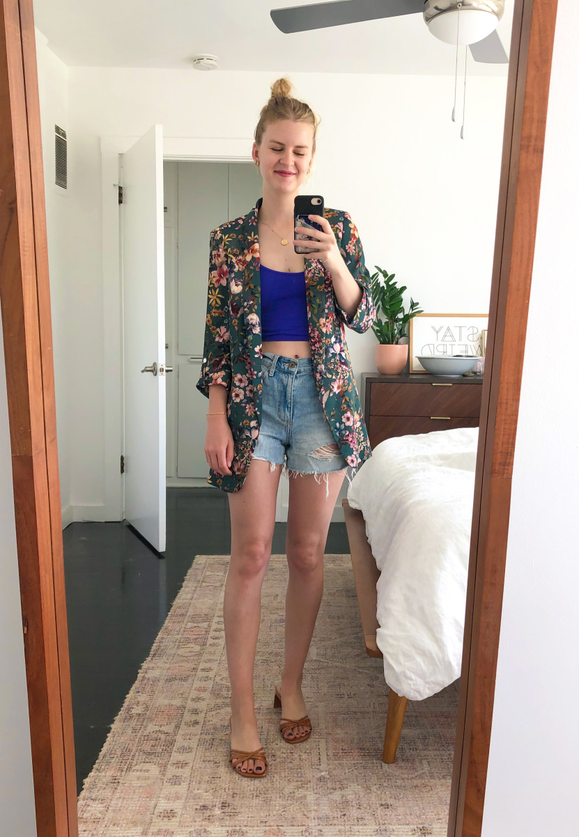 Monday (Kelly, Marketing Manager): Zara Blazer (similar here), Free People Tank, Pistola Shorts, Steven Shoes