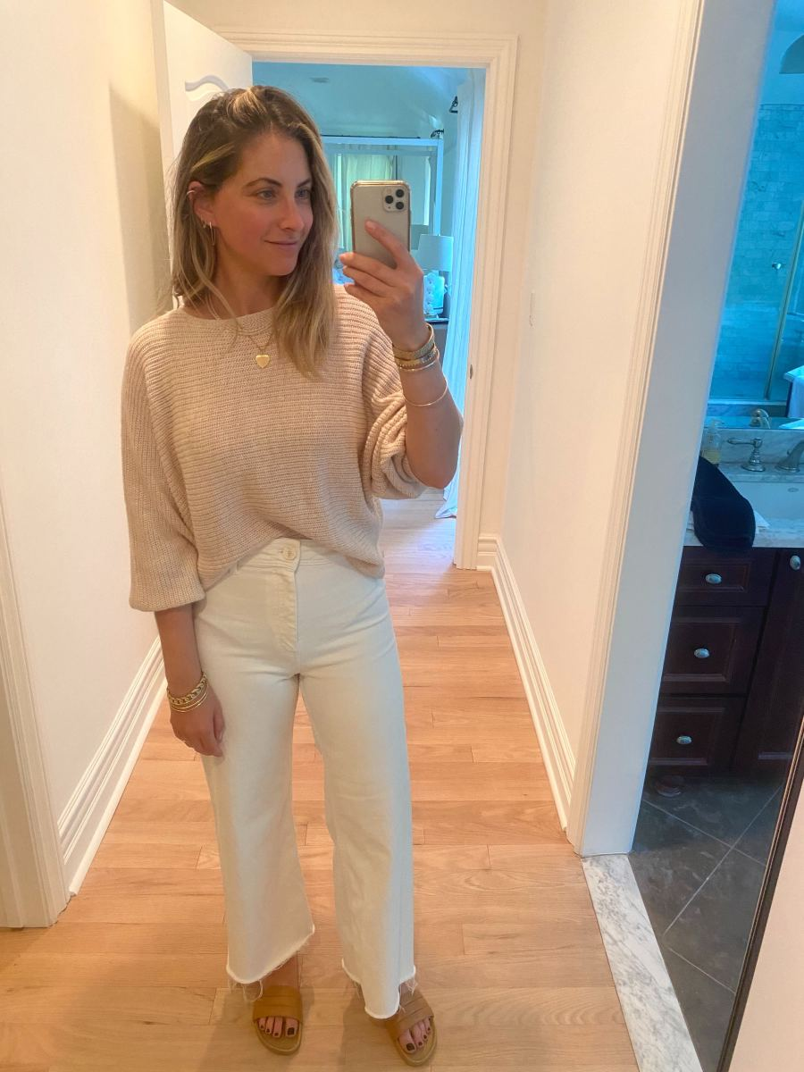 Friday (Emily, Founder): Cupcakes and Cashmere Sweater, Zara Pants, Beatrice Valenzuela Slides