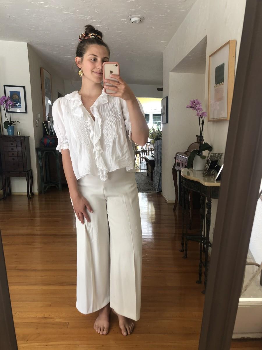 Wednesday (Natalie, Editorial Intern): Doen Top (similar here), Zara Pants, Free People Scrunchie (similar here), Vintage Earrings