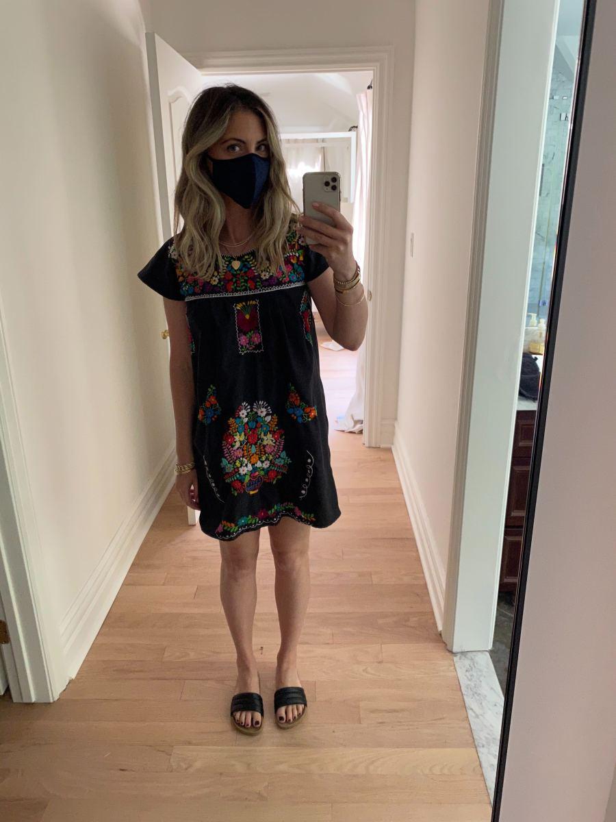 Thursday (Emily, Founder): Dress from Mexico, Mask, Beatrice Valenzuela Slides