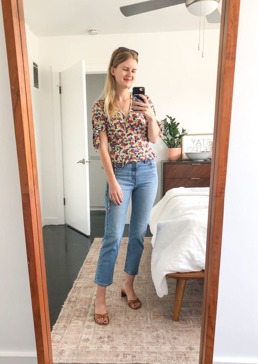 Monday (Kelly, Marketing Manager): Faithfull The Brand Top, Levi's Jeans (similar here), Steven Shoes, Sunski Sunnies