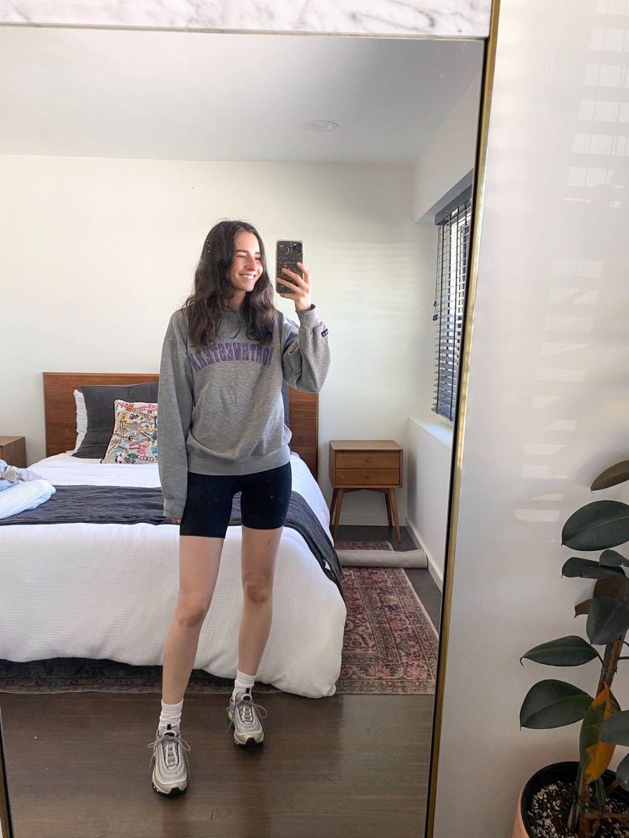 Thursday (Princess Dianaa.k.a.Jess, Social Media Manager): College Sweatshirt #gocats(similar here), Beyond Yoga Biker Shorts, Hanes Socks, Nike Sneakers (similar here)