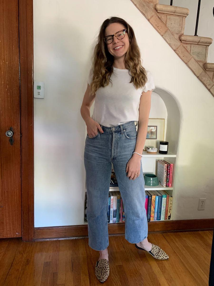 Wednesday (Leslie, VP of Content):Madewell Tee, AGOLDE Jeans, Jenni Kayne Slides (affordable version here), Warby Parker Glasses