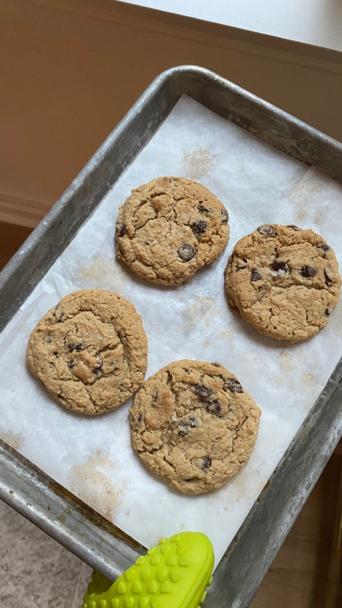 Fresh-baked chocolate chip cookies—keeping pre-scooped dough in the freezer has been a gamechanger