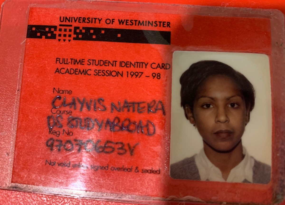 My student ID card from London (misspelled name and all)