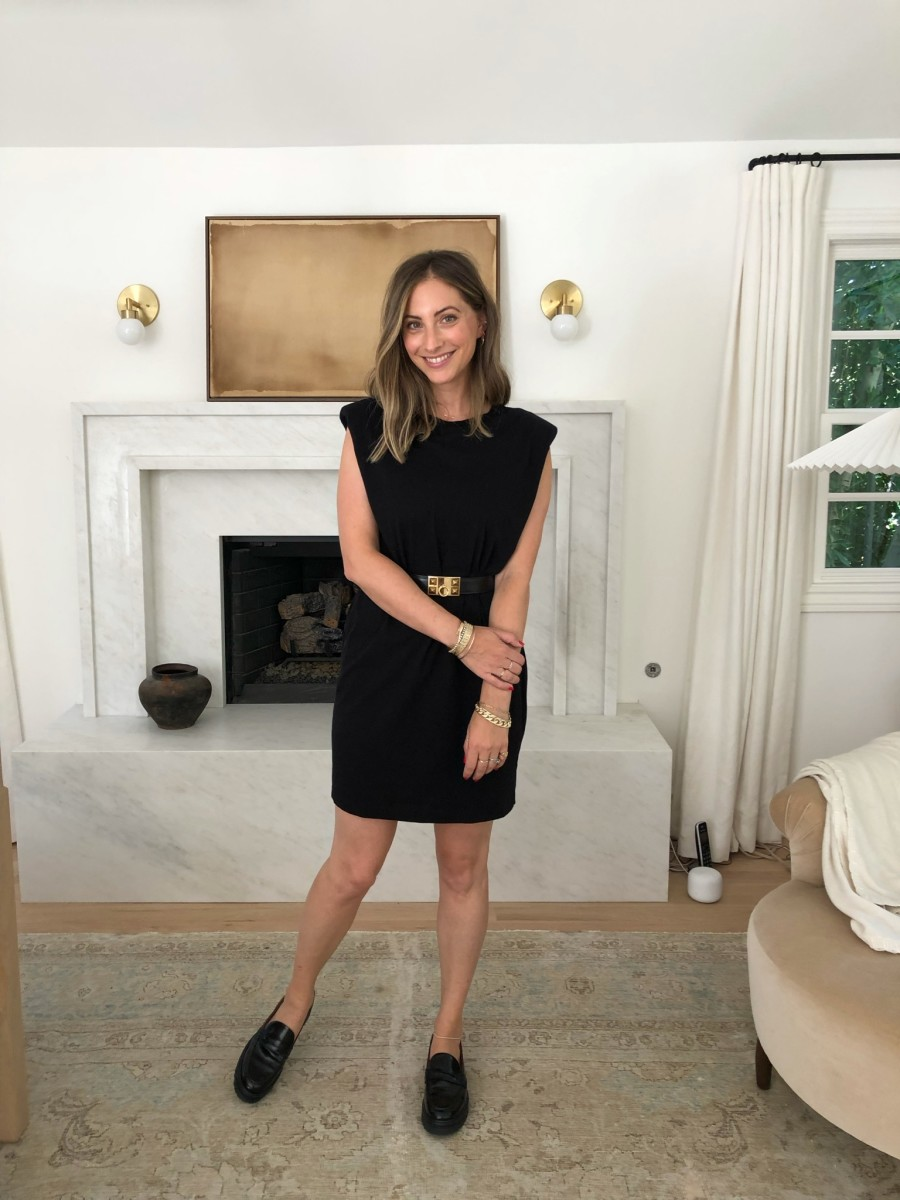 Aritzia Dress, Hermes Belt, Reformation Loafers