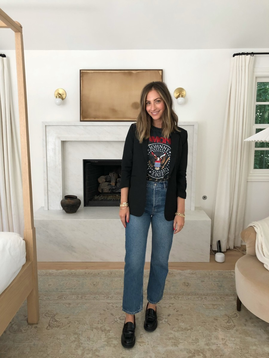 Elizabeth and James Blazer, Daydreamer Tee, Reformation Loafers and Jeans