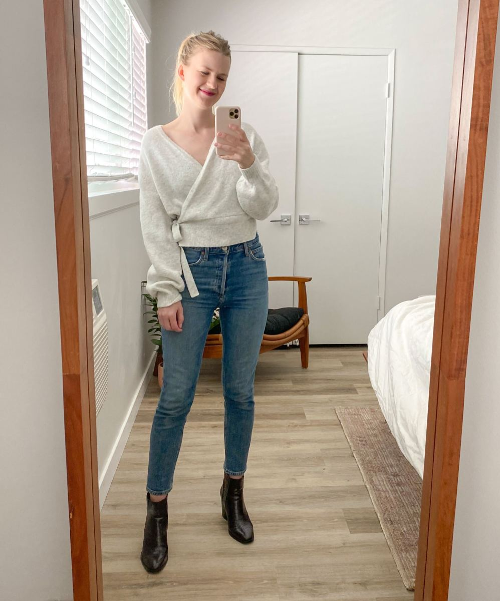 & Other Stories Cardigan (similar here), AGOLDE Nico jeans, Zara booties (similar here)