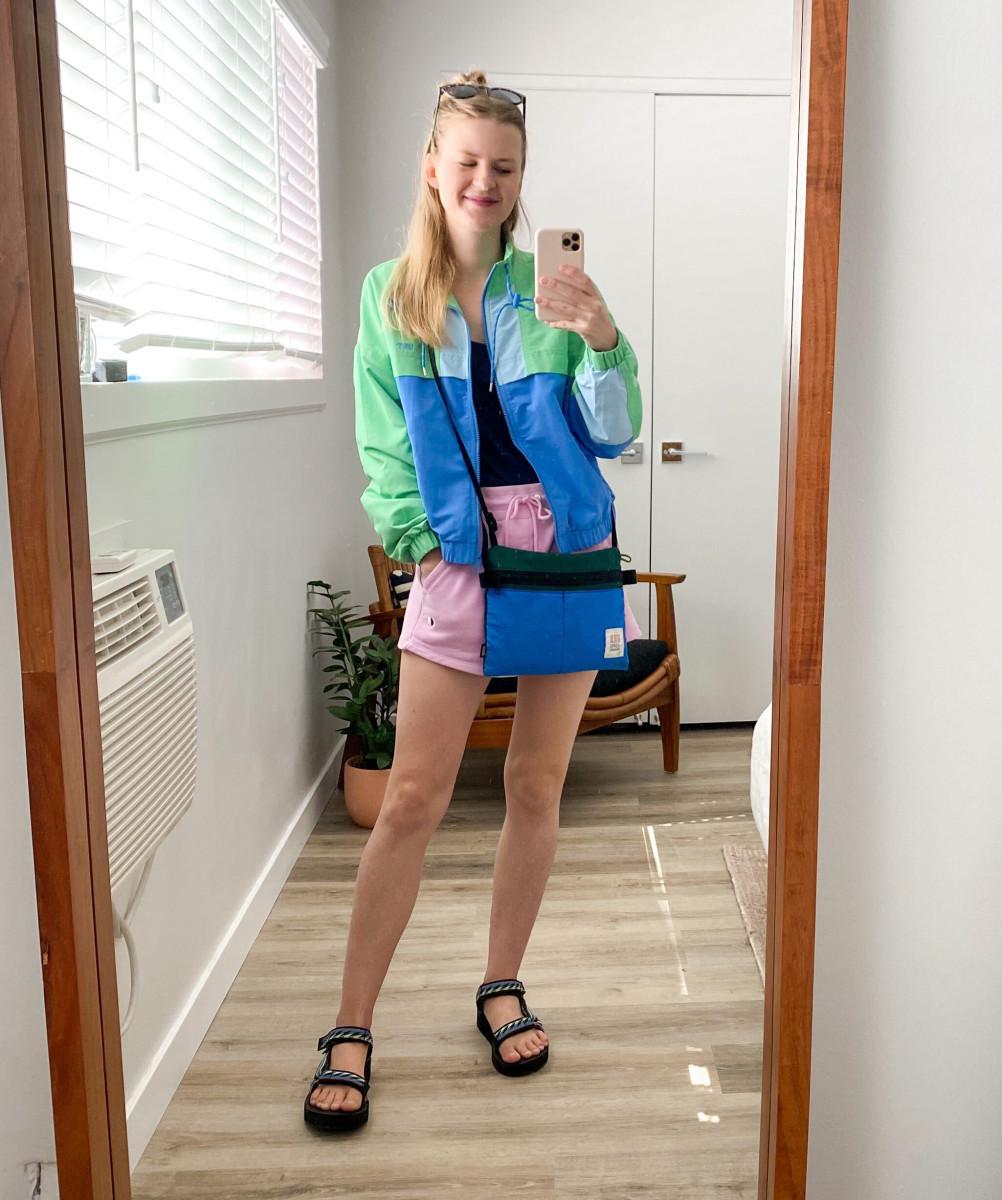 Levi's Jacket (similar here), Champion Shorts, Teva Sandals, Topo Designs Bag