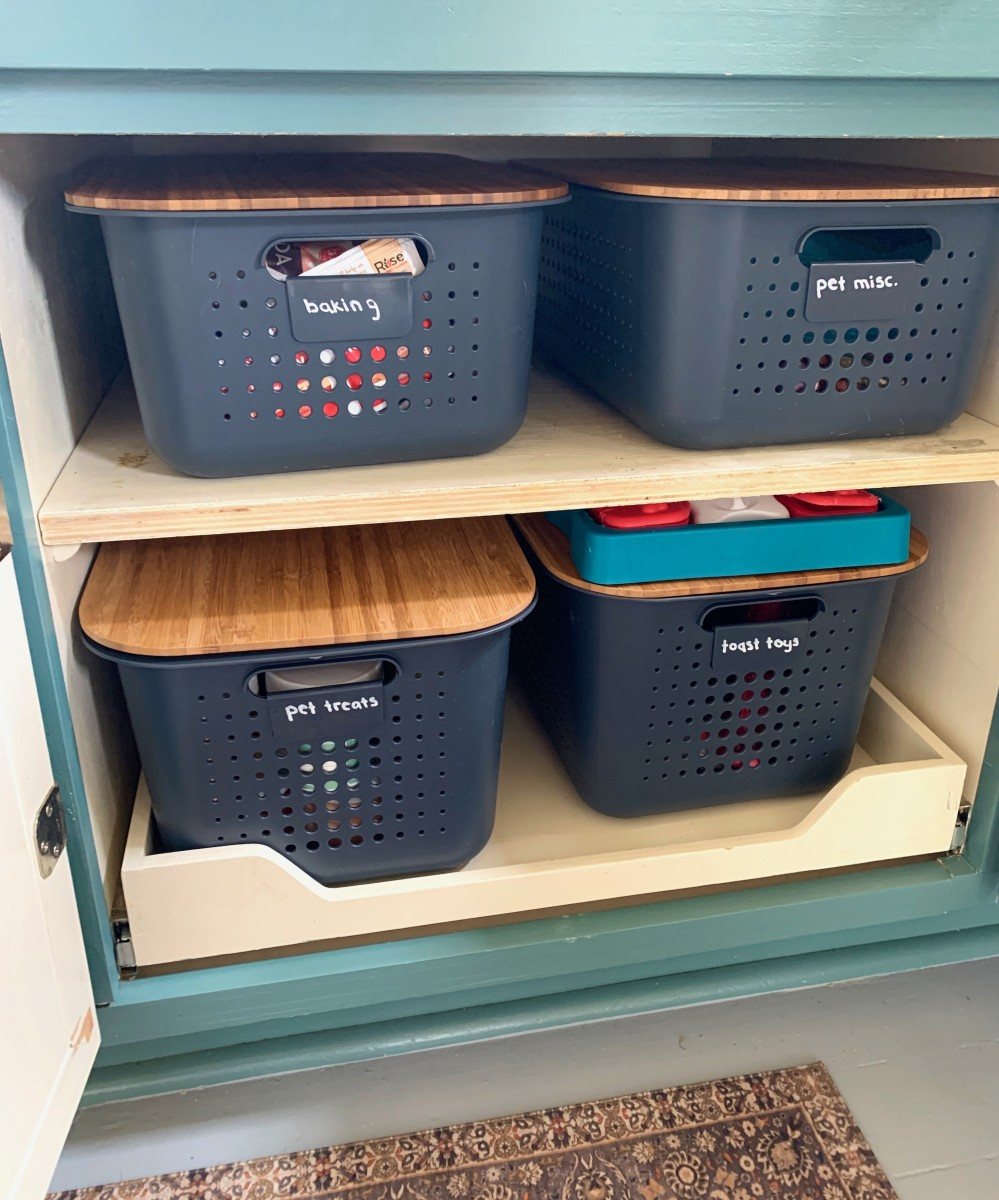 Charcoal Nordic Storage Baskets with Handlesand Bamboo Lids