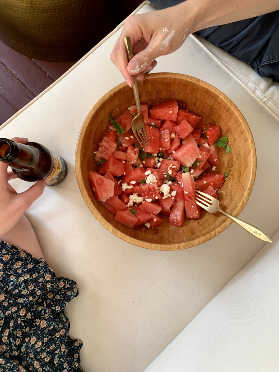 Eating watermelon salad for dinner on the porch, after a day spent painting our house
