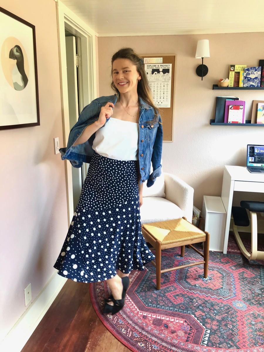 Madewell Denim Jacket (I size up to 'Medium'), Everlane Cami, Vintage Skirt, Rothy's Slides