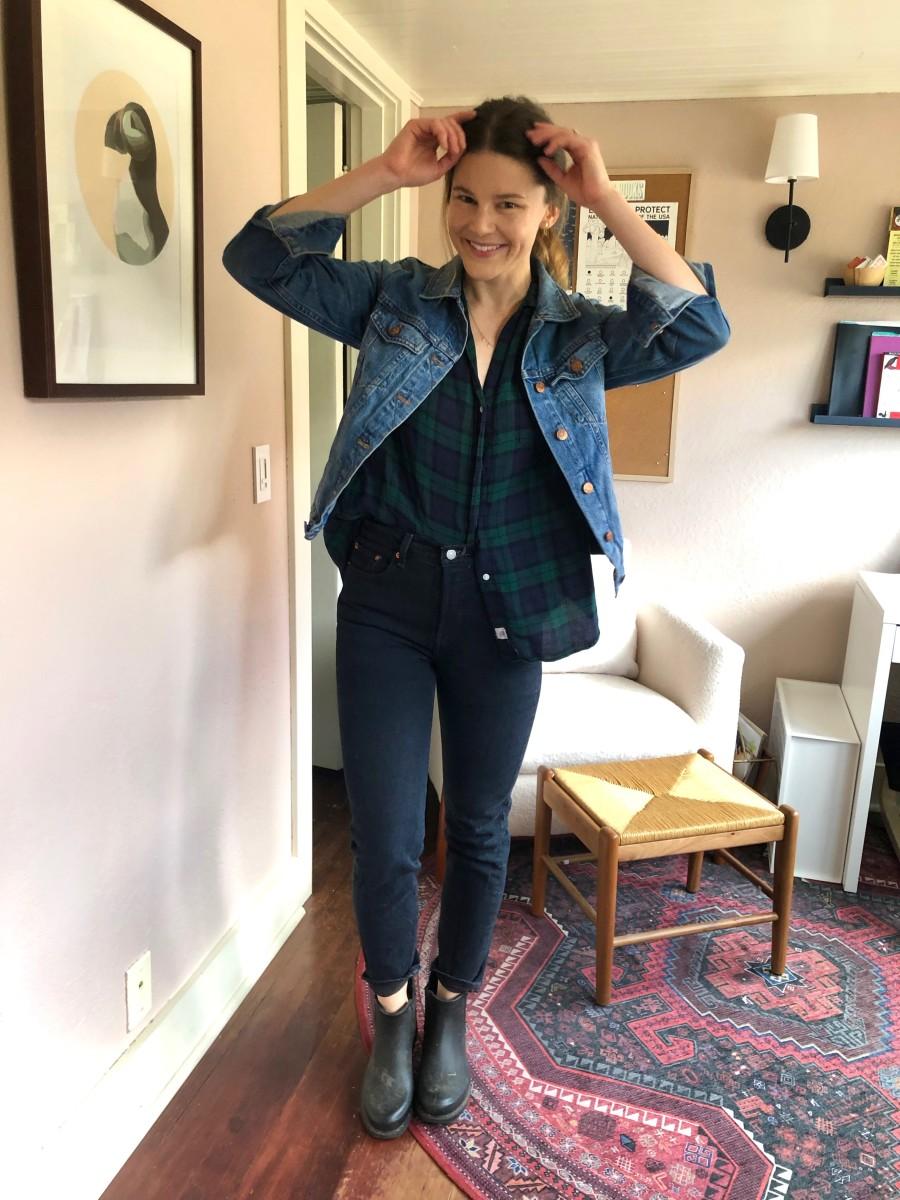 Madewell Denim Jacket, Grayson Fleece, Levi's Straight-Leg Jeans, Madewell Booties