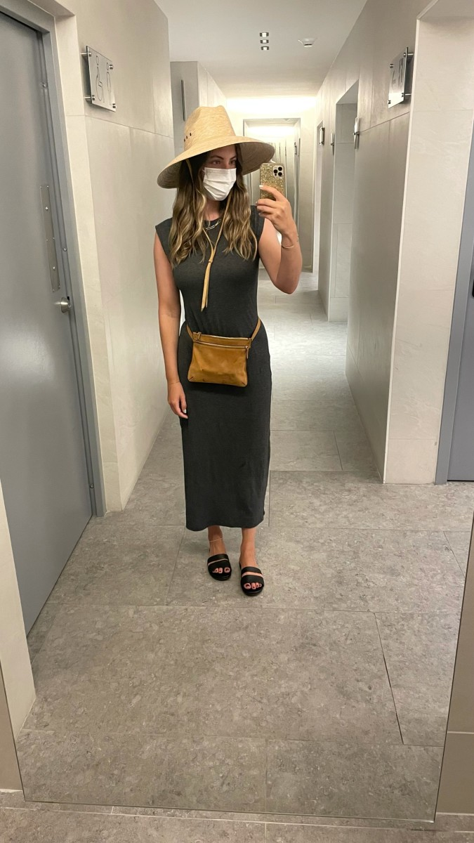 Your Stylist Says Hat, Frame Dress, Theory Belt Bag (similar here),Newbark Sandals (second-hand available here)