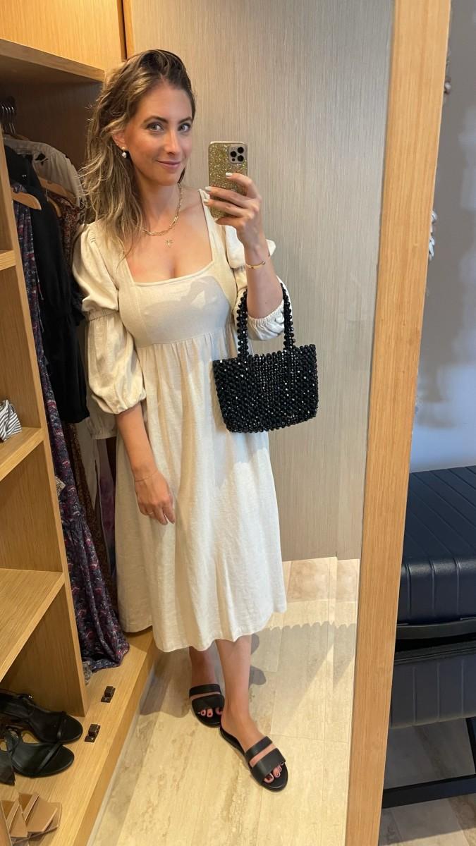Rachel Pally Dress, No Name Bag, Newbark Sandals (second-hand available here)