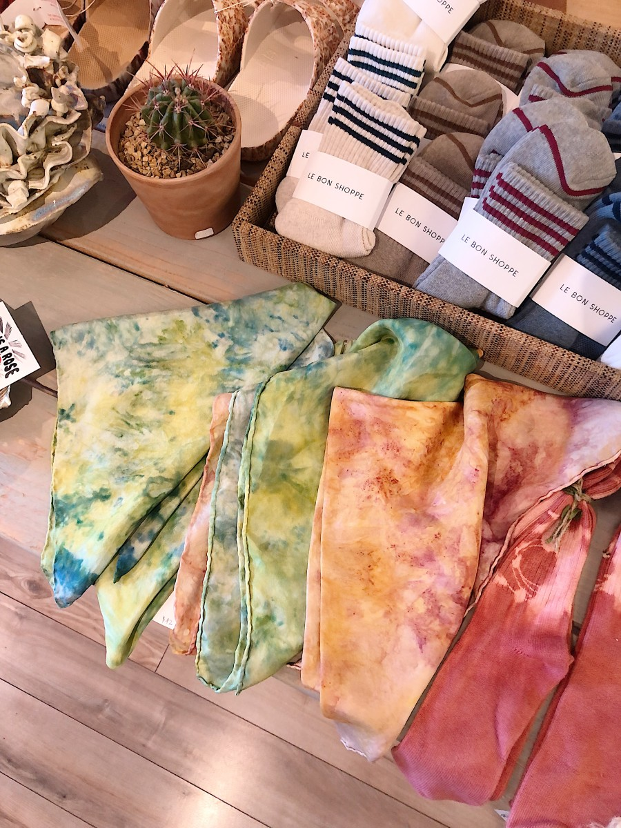 Plant-dyed silk scarves by Ride or Dye Ojai.