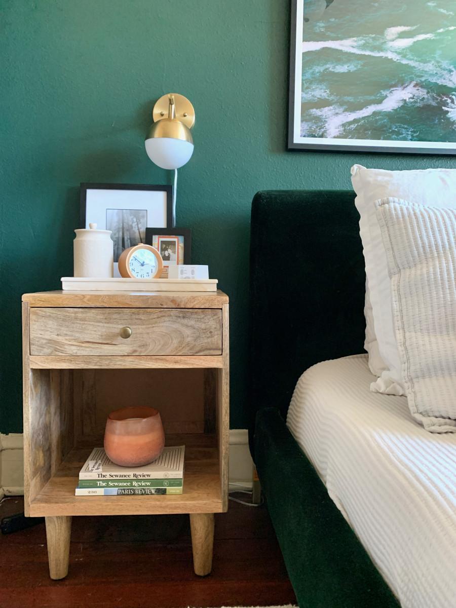 My side, after (Magnola Home Jar, Marble Tray, Casaluna Candle)