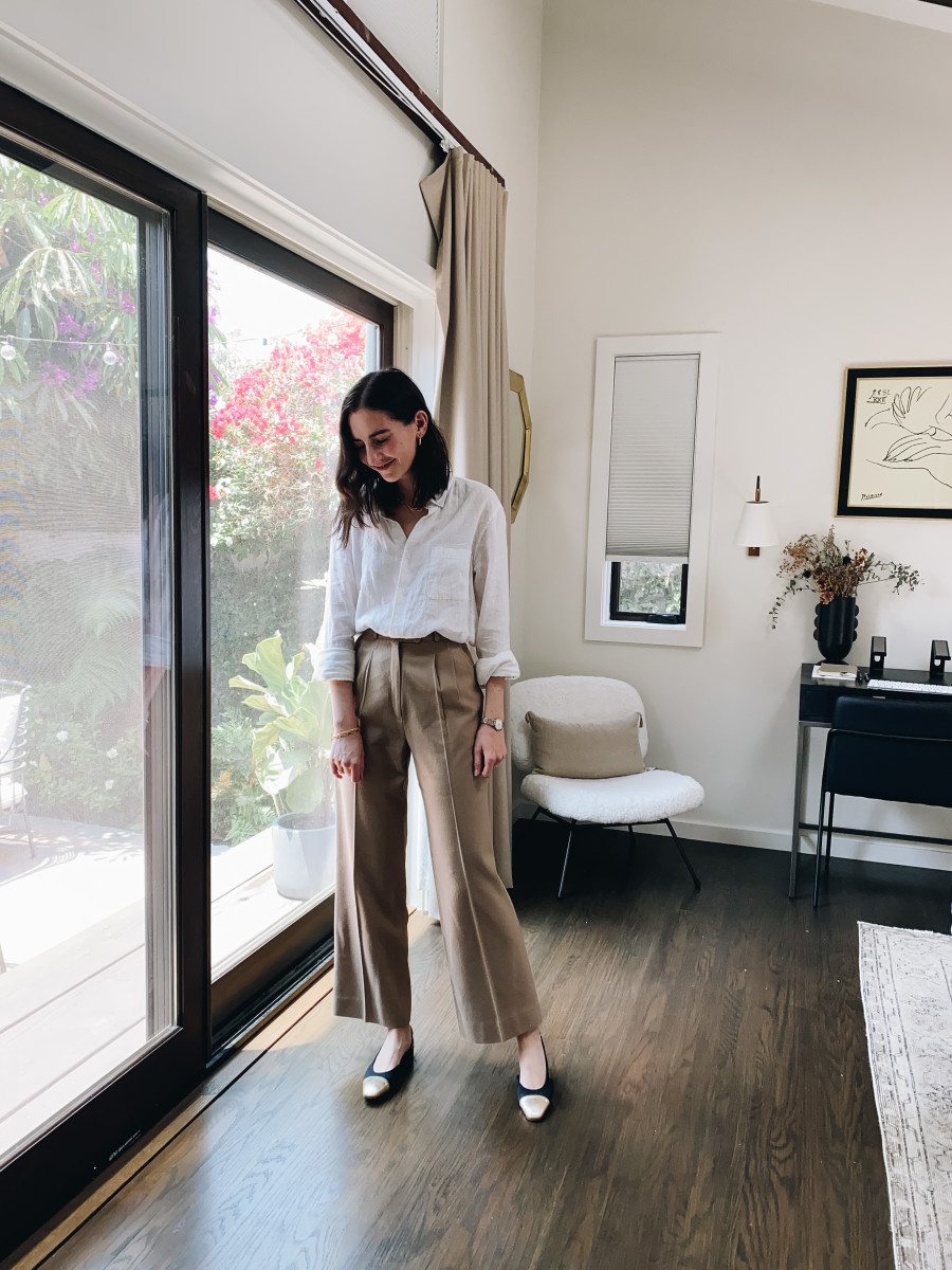 Everlane button-down, vintage trousers (similar here), Chanel slides