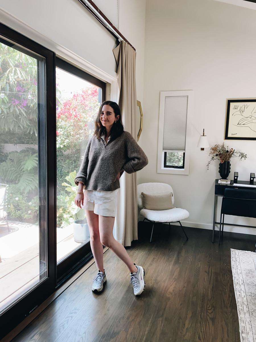 Everlane button-down, Jenni Kayne pullover, Vince shorts, Nike sneakers (similar here)