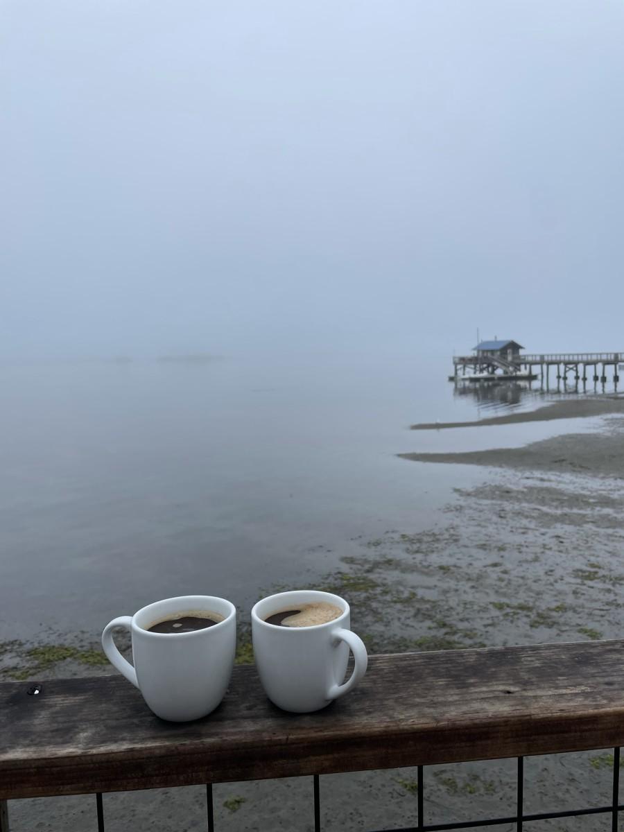 {Morning coffee, low tide}