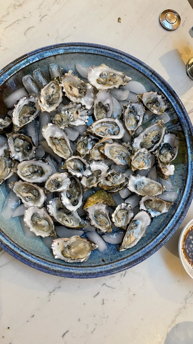{G shucked several dozen oysters, which we enjoyed with martinis}